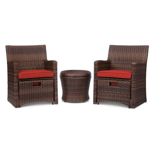 Create A Cozy, Outdoor Oasis With The Halsted Wicker Patio Chat Set From  Threshold. This Set Gives Your Deck Or Patio A Warm, Classic Feel.