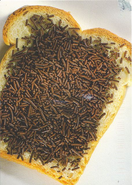 Dutch hagelslag (chocolate sprinkles) the best x fore breakfast on a soft fresh white with butter