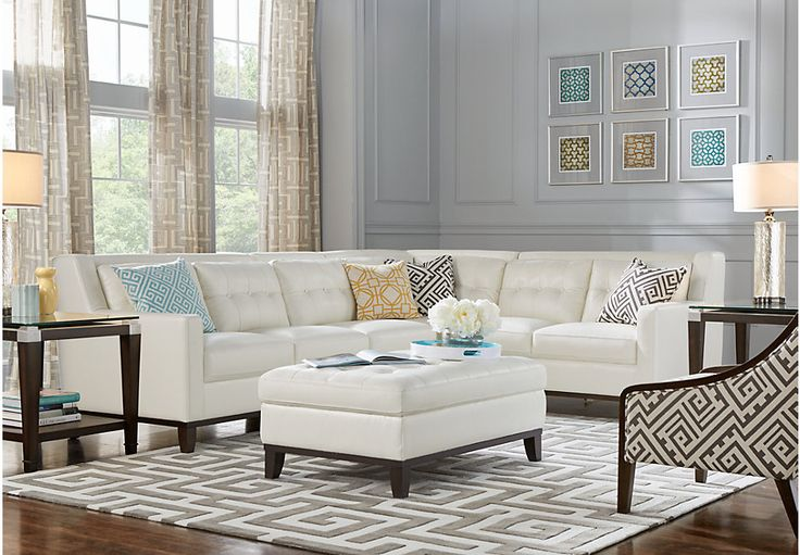 Reina Point White Leather 5 Pc Sectional Living Room