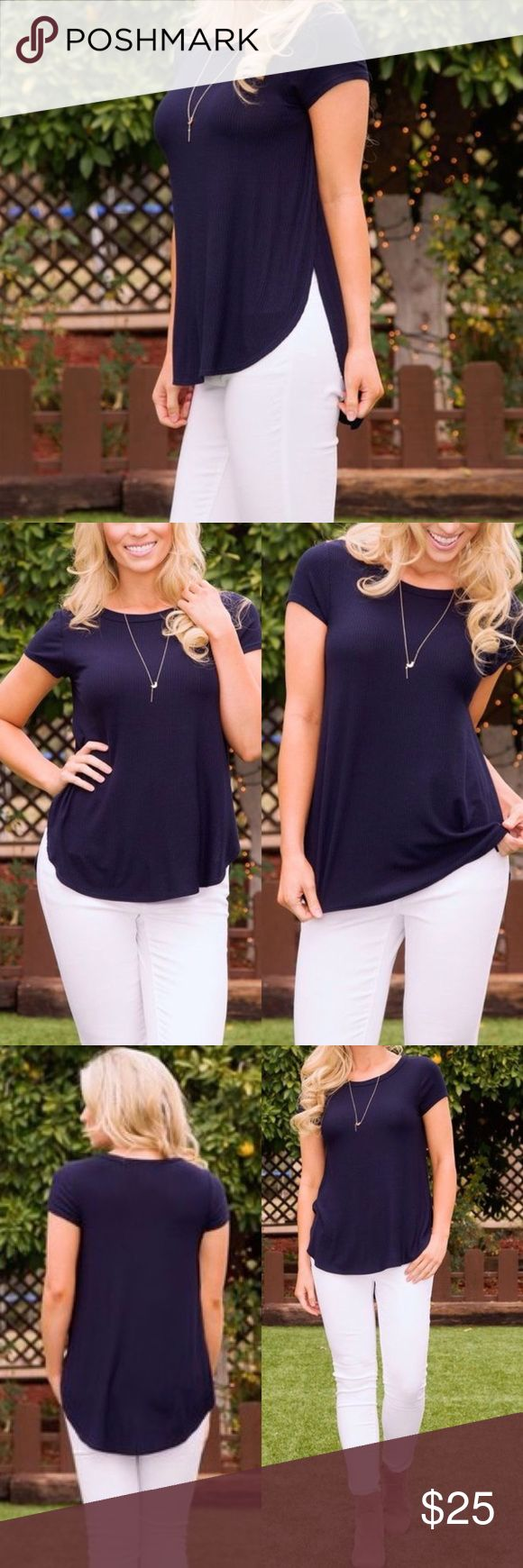 """Navy Ribbed Slit Top ✅ Boutique item prices firm unless bundled  ✅20% off bundles 3+ ✅Color may vary due to different device color calibrations ❌ No trades ❌ No transactions off Poshmark ❌ No offers on bundles  💗 Soft stretchy Ribbed fabric 💗 Scoop neck, short sleeves 💗 High side slits 💗 Hi-lo curved finished hem  💗 Rayon/Spandex Bust: 34"""" Side slit: 9"""" Front Length: 26"""" Back Length: 29"""" Poetry Tops"""