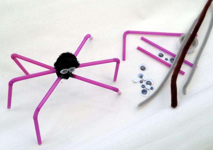 Spider - drinking straws,plastic mobile eyes,  chenille stem