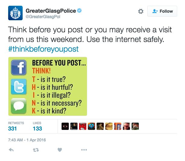 Think Before You Post: Glasgow Police Will Visit People who Make Unnecessary Social Media Posts