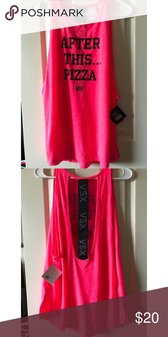 "Victoria's Secret Sport ""After This... Pizza"" Tank NWT! VSX bright and fun tank! The racerback detailing makes it really unique! ❤️ Victoria's Secret Tops"