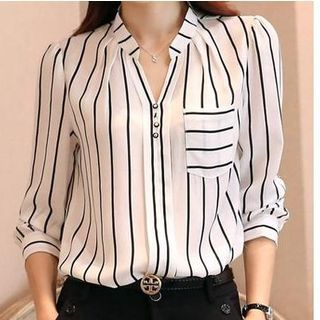 Buy Dowisi Split-Neck Striped Chiffon Blouse at YesStyle.com! Quality products at remarkable prices. FREE Worldwide Shipping available!