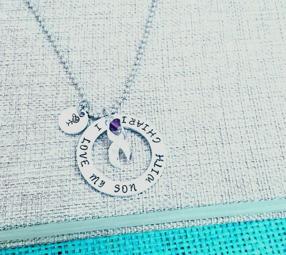 "The hand stamped washer is approximately 1 1/2"" in diameter. You can change the words to anything you would like ( as long as it fits). The listing also comes with an silver ribbon charm and a purple crystal.     You can choose what necklace chain you would like your pendant on. They are all standard 18 inches long. The 2nd picture shows you the options to choose from. Please leave your selection in the ""notes to seller"" box at checkout. If left blank, the ball chain that is pictured will be used.    * If you are sensitive to Nickel, upgrade to Stainless Steel by clicking this link and adding to cart---> https://www.etsy.com/listing/181484725    Several ways to CUSTOMIZE your necklace: (click on links and add to cart)    Add an initial charm- https://www.etsy.com/listing/180681081  Add a birthstone- https://www.etsy.com/listing/173830712    Other Charm Options:  Family Member Charms---> https://www.etsy.com/listing/181495868   Animal Charms---> https://www.etsy.com/listing/181497280  Sports Charms---> https://www.etsy.com/listing/181509361  Love & Nature---> https://www.etsy.com/listing/181499098    Silver Polishing Cloth (to make yours shine for life)- https://www.etsy.com/listing/181474764    You can add a bracelet here with no extra shipping----> https://www.etsy.com/listing/181372398    **These are custom made, so if there are any changes you would like: feel free to do so! During checkout, you have an option to add a note on your order for any specifications or adjustments.     Please send me a message if you have any questions or requests.    All orders come in a beautiful organza bag, ready for gift giving!    Want to see more? Here is my shop front---> www.etsy.com/shop/handmadelovestories    ❤ Note: Each piece is hand stamped by striking a hammer, each letter at a time. The spacing and the depth of the letters vary - This creates the beauty and uniqueness of every single piece - No two are the same! If you have any concerns or are just new to hand stamped jewelry, let me know! I'll send you pictures of the item before shipping it you to make sure you love it! ❤  ------------------------------------------------------------------------------------------  (New to Etsy? You will need to sign up for an Etsy account to checkout just like most online stores. After you add the item you want to your cart, it will show that you will pay through PayPal- You do not need to have a paypal account, nor pay that way. You will have the option to pay with any major credit / debit card) Happy Shopping!!! 