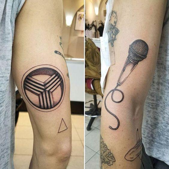 awesome Tiny Tattoo Idea - Tattoos by Joshua Clay (Jumping Clay Art). #microphone #municipal #chicagomunici...