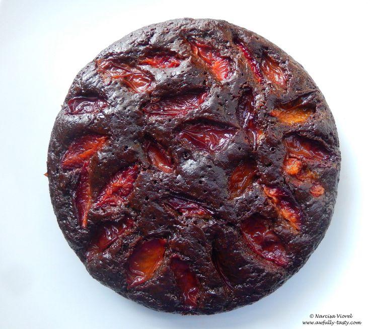 Prajitura cu ciocolata si prune.   Sticky chocolate plum cake by Ottolenghi.