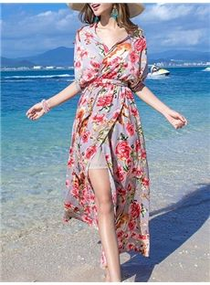 2016夏向けおしゃれファッション花柄オーポンマキシワンピース