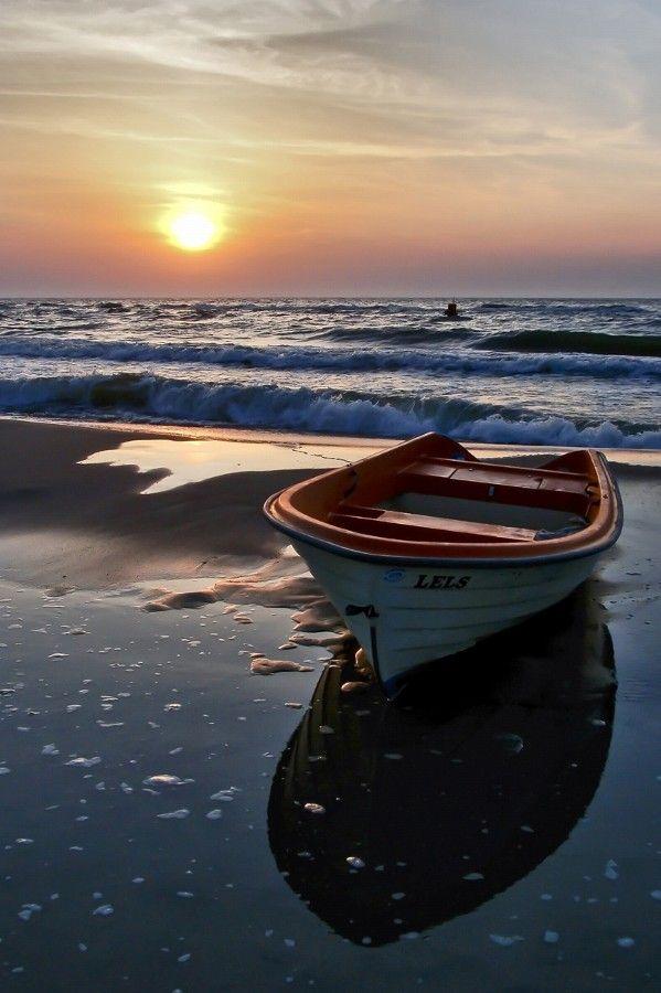 """ Baltic Sea 03 by marcinkorzeniowski, water, waves, boat, silence, peaceful, sunrise, sunset, beauty of Nature, sunbeams, beach, beautiful, gordeous, photo"