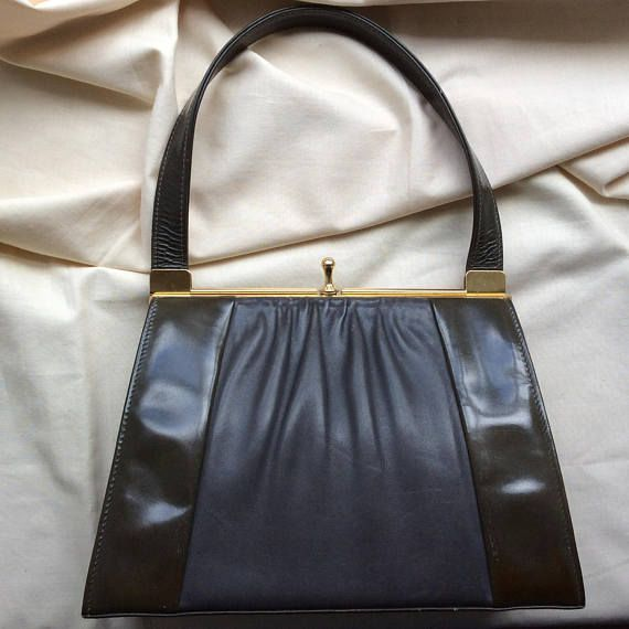Vintage olive patent and grey leather handbag by Van Dal