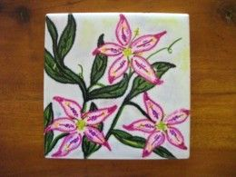 Ceramic Tile Arts and Crafts for Kids Cute Idea for Kids and Adults. I was thinking u could also use these for coasters or a place in your house to put the tiles on. You could make everyone different or the same.