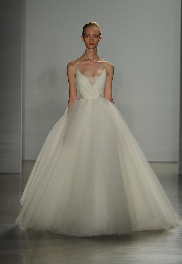 Christos Fall 2016 soft tulle ball gown wedding dress with silk chiffon and sheer lace panel bodice | https://www.theknot.com/content/christos-wedding-dresses-bridal-fashion-week-fall-2016