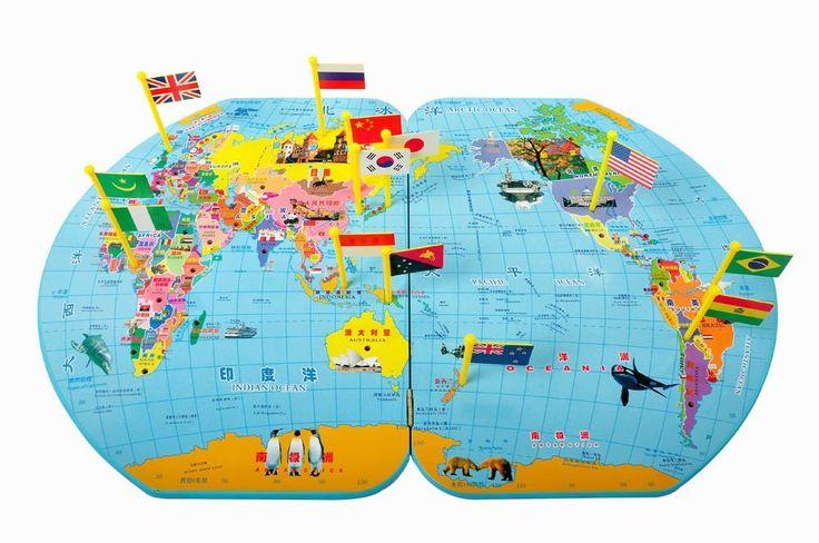 Harta lumii din lemn cu Stegulete • HAM BEBE