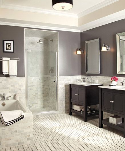 """love the colours, but maybe a grey mix floor, with white """"fake"""" walls. cabinets black"""