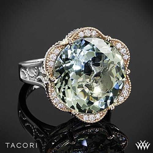 Tacori Seafoam Mint Prasiolite and Diamond Ring in Sterling Silver with 18k Rose Gold Accents