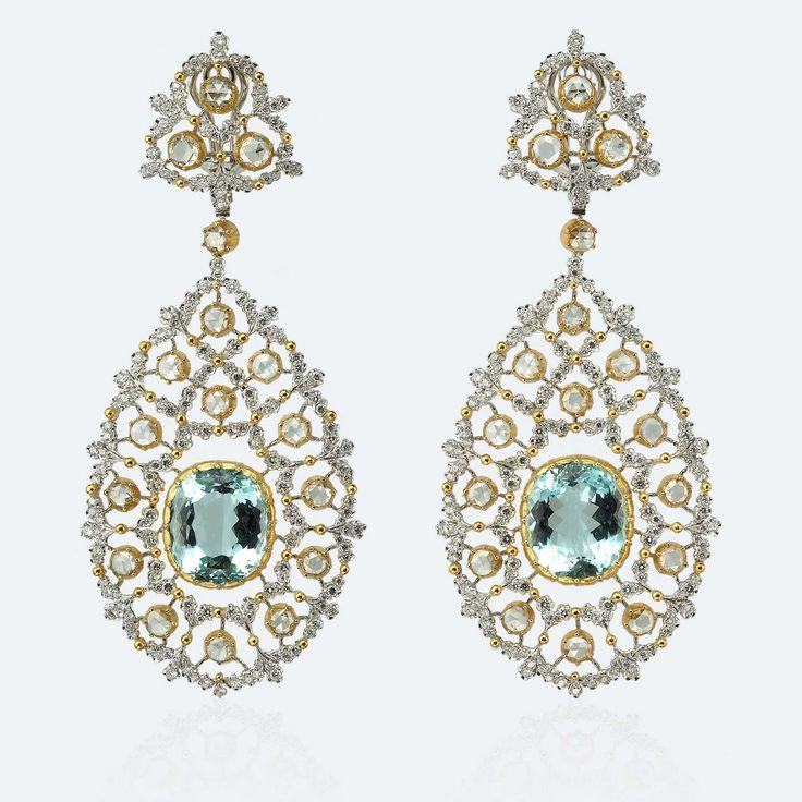 Buccellati Blu Bird Pendant Earrings. Materials: Yellow Gold, White Gold, Diamonds, Aquamarines, Rose-Cut Diamonds.