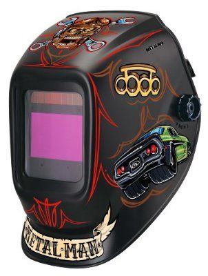 Metal Man ABR7800SG 9-13 Variable Shade Industrial Auto-Darkening Welding Helmet, Bad Rod Graphics