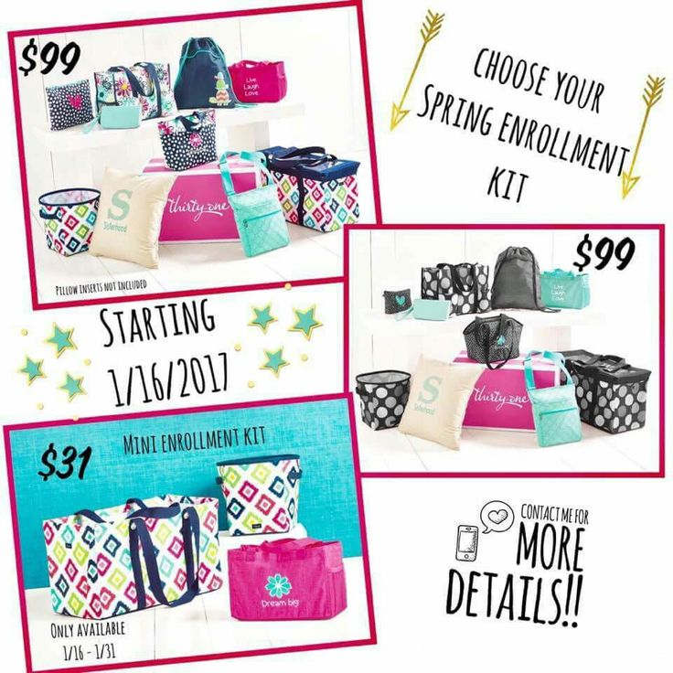 Look at these amazing new starter kits for spring!!! All of these are available on 1/16. Join my team!! www.mythirtyone.com/YealaEdwards