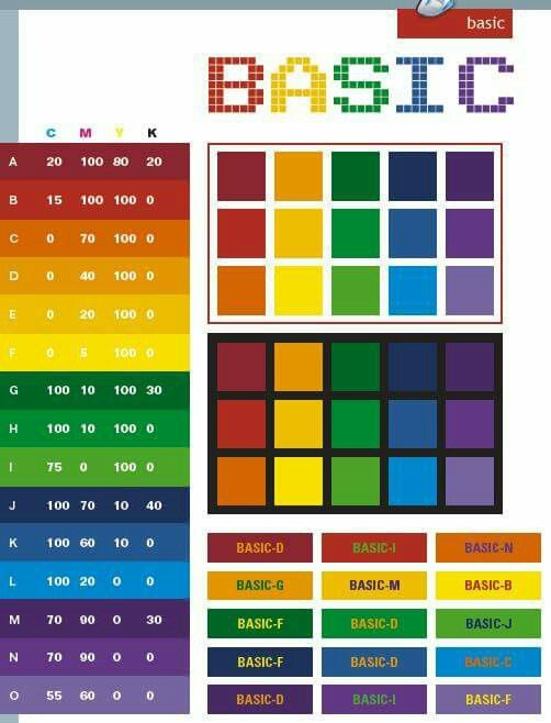 Basic color schemes, color combinations, color palettes for print (CMYK)  and Web (RGB + HTML)
