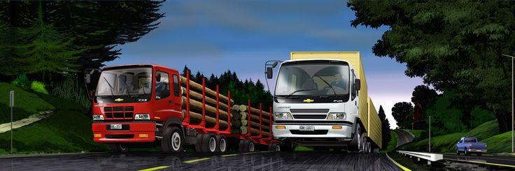 Camiones GM en paisaje Sur lluvioso - Ilustración en Photoshop