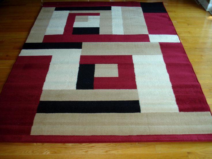 Modern Red Beige White Black Design 5x8 Area Rug Carpet NEW #Modern