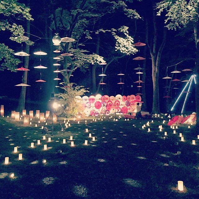 【shituzi】さんのInstagramをピンしています。 《#光#傘#ロウソク#日本#Japan#umbrella#candle#light#和#森#木#鬼怒川#月あかり花回廊#ライトアップ#鬼怒川温泉》