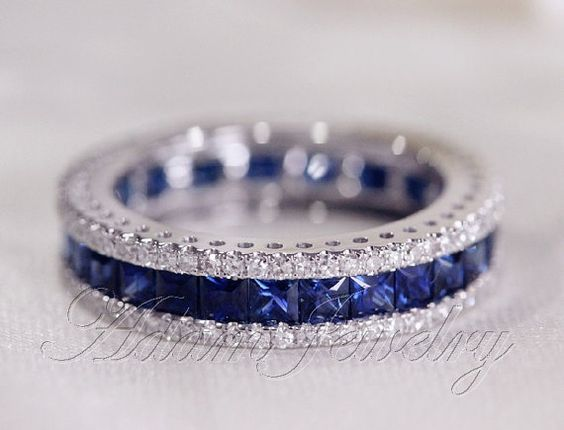 Fantastic Princess Cut Natural Ceylon Sapphires Ring Diamonds Engagement Ring 14K White Gold Wedding…