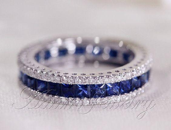 Fantastic Princess Cut Natural Ceylon Sapphires Ring Diamonds Engagement Ring 14K White Gold Wedding…