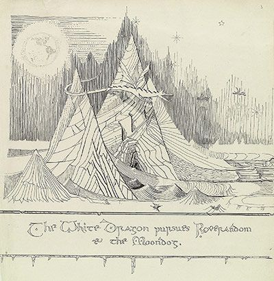 'The White Dragon Pursues Roverandom and the Moondog'.  The Hobbit as JRR Tolkien imagined it – in pictures.  When The Hobbit was first published almost 75 years ago, JRR Tolkien provided a set of wonderful illustrations. But buried among the author's papers were 110 drawings, watercolours and sketches, some of which have never been published before.