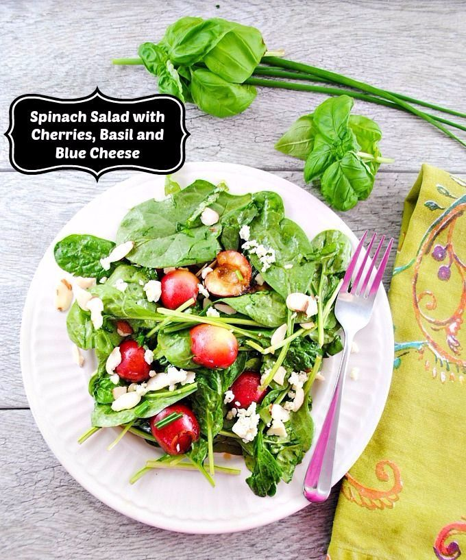 Sweet, summer fresh cherries elevate a classic spinach salad into a salad to remember when you combine them with basil, blue cheese, and slivered almonds. (This post is sponsored by Crisp.)