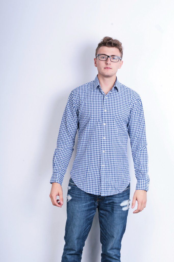Polo by Ralph Lauren Mens 15.5/34 L Casual Shirt Check Blue Custom Fit Cotton