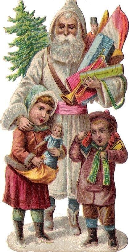 Oblaten Glanzbild scrap die cut chromo Nikolaus father XMAS pere noel Kind doll: