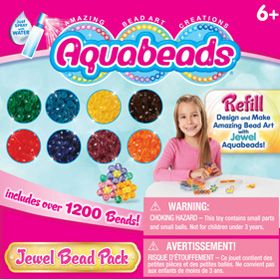 The Jewel Bead Pack is a refill set with 1200 Jewel beads featuring 8 colors: blue, green, yellow, red, orange, brown, purple and pink. With colorful Jewel Aquabeads, beautiful creations are simply a spray of water away! This set can be used with any Aquabeads play set. Refill set does not include ring, barrette, layout tray, bead case and spray bottle.