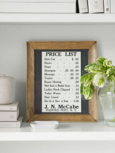 Barbershop Antiques - Barber Shop Price List - Country Living