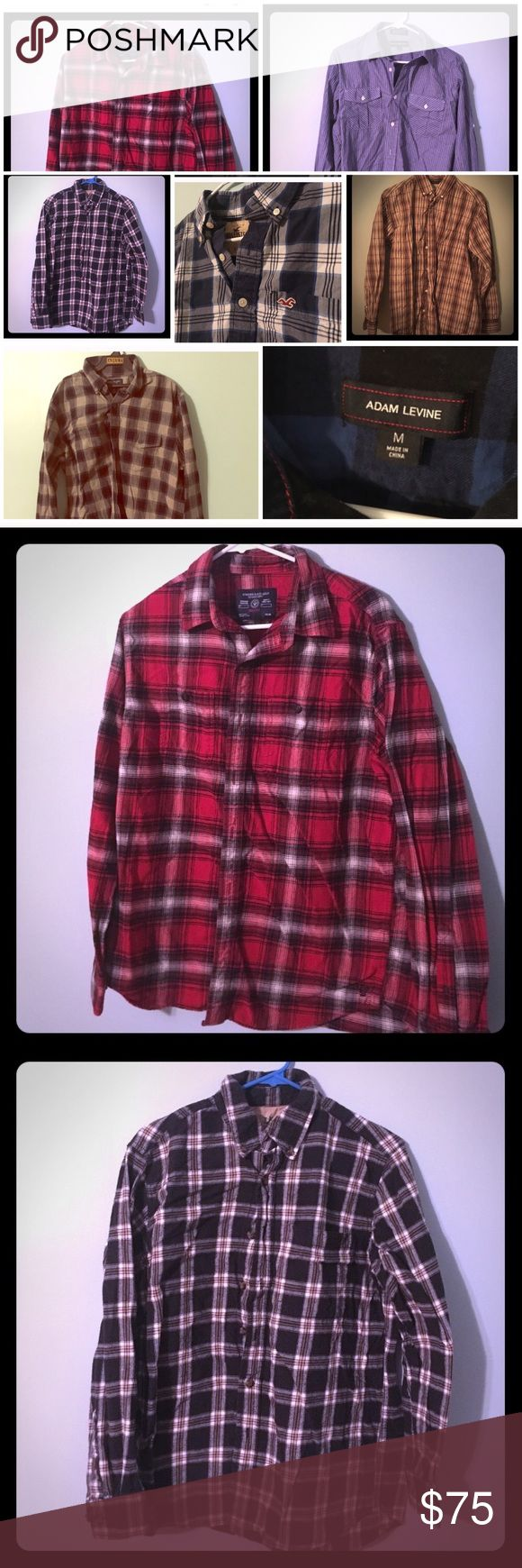 ⭐️ 16 Shirt Bundle! ⭐️ American Eagle, Old Navy 👕 ⭐️ Amazing deal!!!! ⭐️ Selling 16 button-down collar shirt bundle! All size M. Bundle includes: 4 Beverly Hills Polo Club, 3 American Eagle Outfitters, 3 Adam Levine, 1 Old Navy, 1 Hollister, 1 Authentic 44mm Legendary Workwear, 1 Van Heiden (neck size 18 dress shirt), 1 Stretch and 1 Outdoor Life Campside Flannel. Be the first to score this fantastic deal! 🛍 Shirts Casual Button Down Shirts