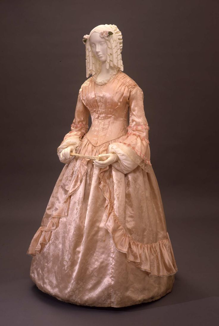 1845, probably Italy - Dress - Silk damask, tulle