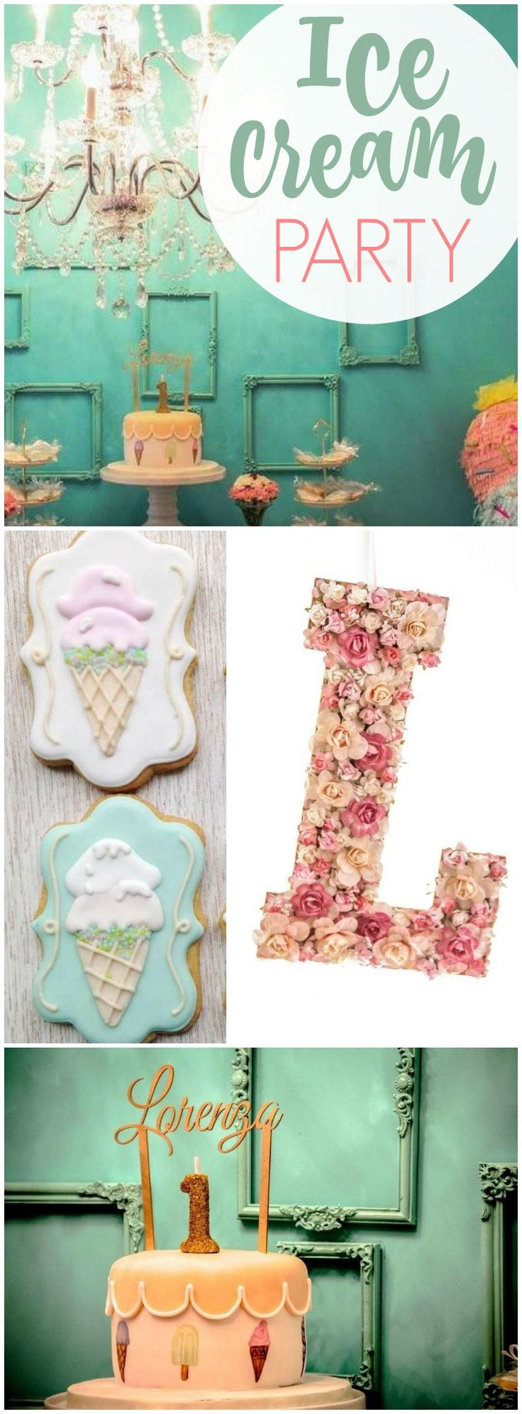 You won't believe the beautiful details at this ice cream party! See more party ideas at CatchMyParty.com!