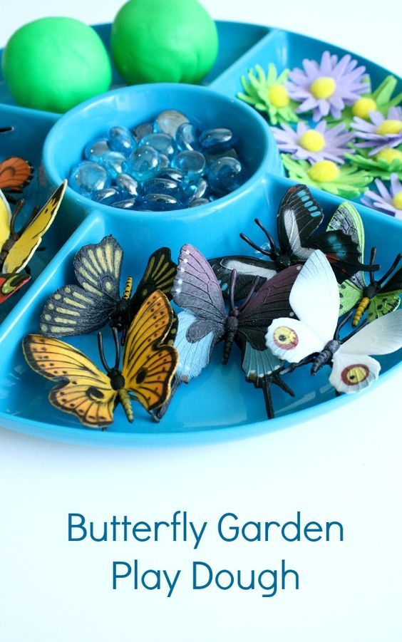 Butterfly Garden Play Dough Invitation-Spring activity and fine motor play for kids