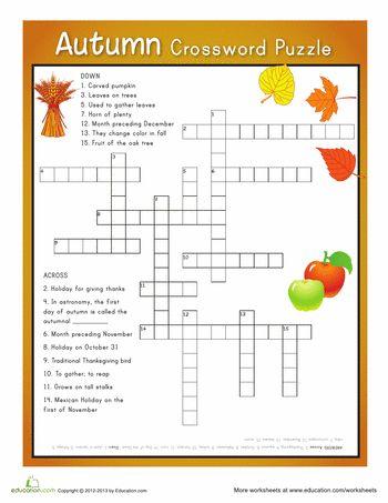 Autumn Crossword Puzzle, 4th grade level, free printable