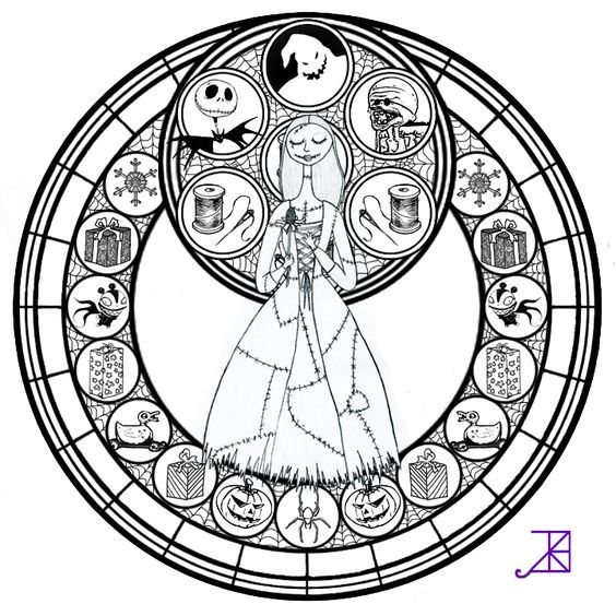 Sally Stained Glass Line Art By Akili Amethyst