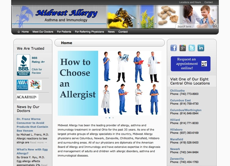 Website for Midwest Allergy and Asthma Affiliates, a practice that serves allergy and asthma needs in central ohio.