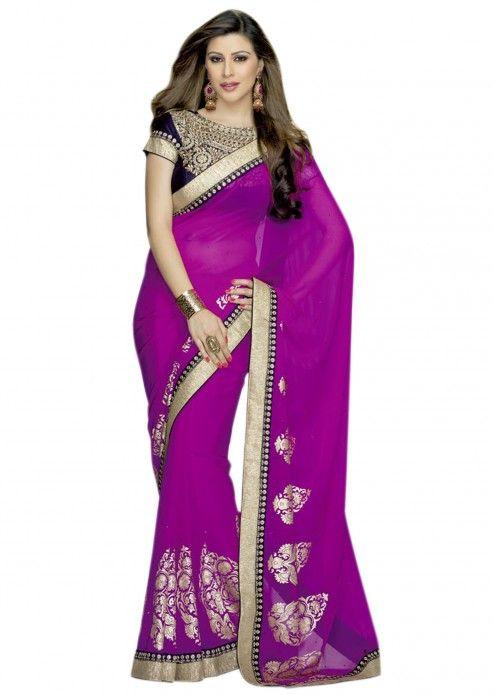 Rani pink saree with border and foil print work