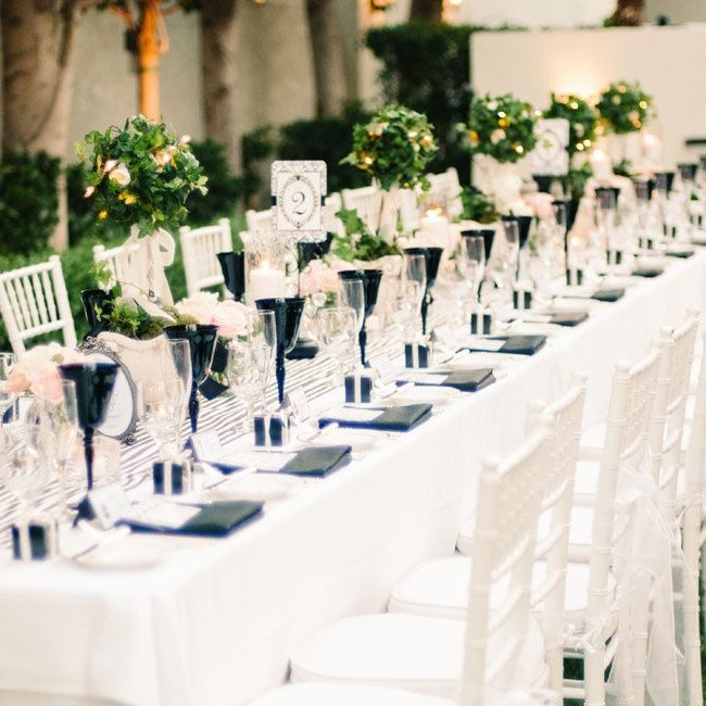 Black And White. Ivy Topiary Centerpieces // Photo By: Honey Honey  Photography // Centerpieces: Rebecca U0026 Company