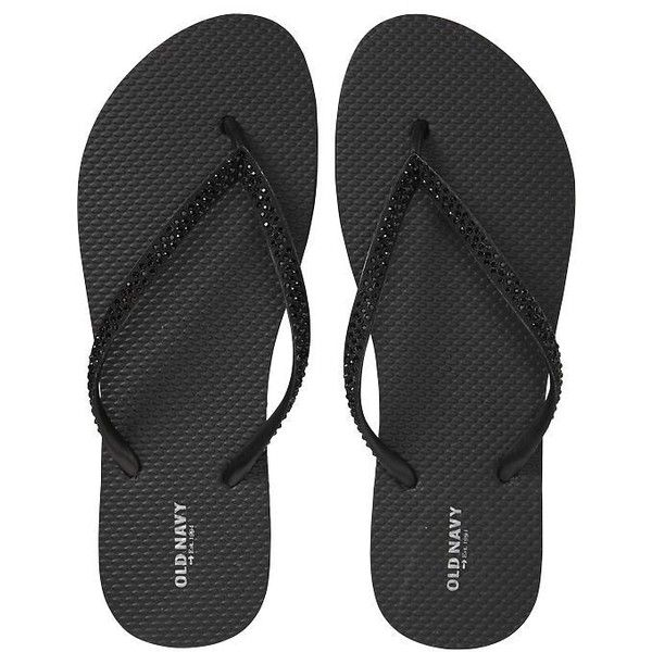 Old Navy Womens Embellished Flip Flops - Black (165 MXN) ❤ liked on Polyvore featuring shoes, sandals, flip flops, sapatos, women, decorating flip flops, embellished shoes, embellished flip flops, old navy sandals and decorating shoes