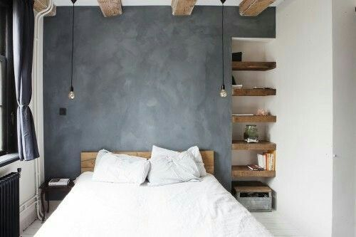 Bedroom - concrete wall - awesome