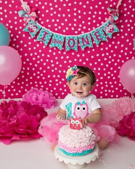BANNER de cumpleaños del búho / 1ª cumpleañera / banner de cumpleaños / pastel bandera smash / banner de cumpleaños del búho / fiesta de cumpleaños del búho / Smash banner de pastel