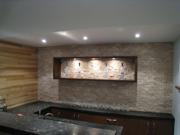 Custom bar backsplash tile installation