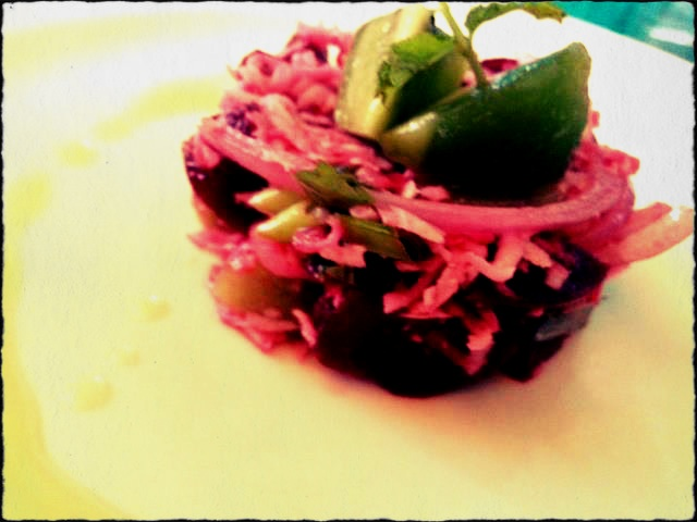 A Beetroot, Coconut and Kiwi salad with a simple Lime and Ginger dressing.