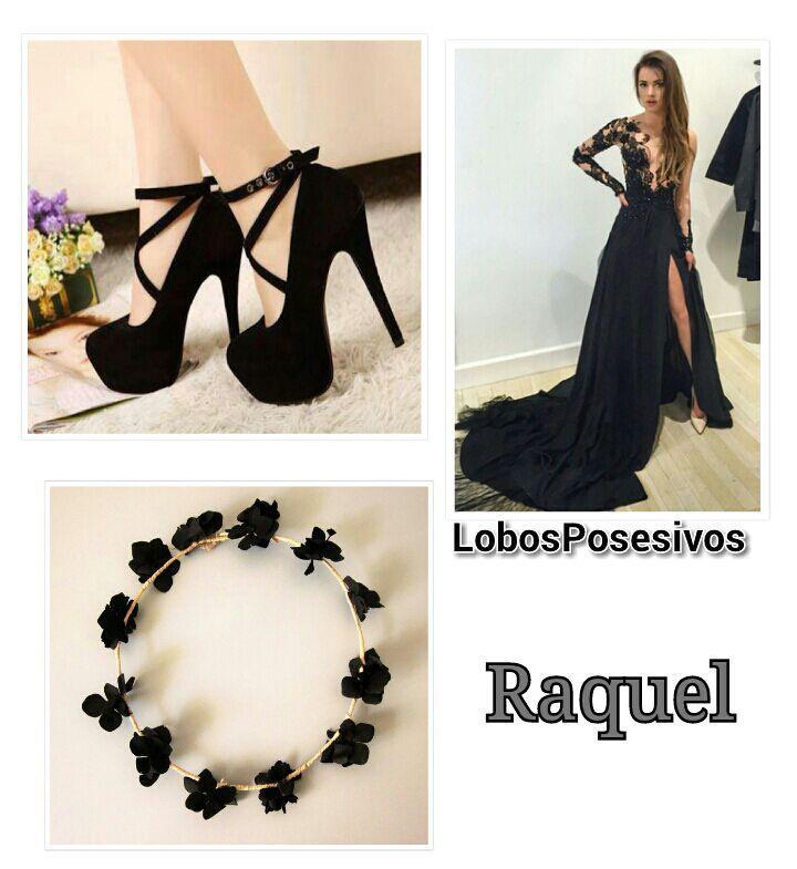 Y Raquel lucia un bello vestido de gala negro con cola larga, encaje arriba, unos tacones negros y una corona de flores negras