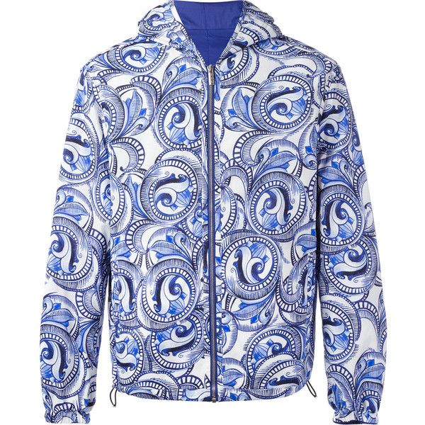 Versace Maiolica Baroque reversible hooded jacket ($1,760) ❤ liked on Polyvore featuring men's fashion, men's clothing, blue, versace mens jacket, mens blue jacket and mens hooded jackets